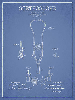 Stethoscopes Drawing - Stethoscope Patent Drawing From 1882 - Light Blue by Aged Pixel
