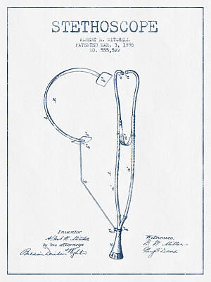 Stethoscopes Drawing - Stethoscope Patent Drawing From 1896 - Blue Ink by Aged Pixel
