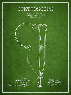 Stethoscopes Drawing - Stethoscope Patent Drawing From 1896- Green by Aged Pixel
