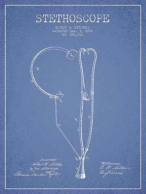 Stethoscope Patent Drawing From 1896- Light Blue Art Print by Aged Pixel