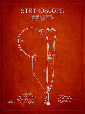 Stethoscope Patent Drawing From 1896- Red Art Print by Aged Pixel