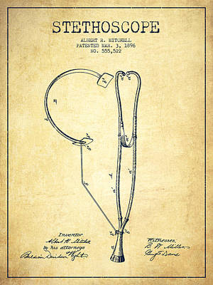 Stethoscopes Drawing - Stethoscope Patent Drawing From 1896- Vintage by Aged Pixel