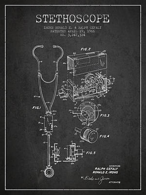 Stethoscope Patent Drawing From 1966- Dark Art Print
