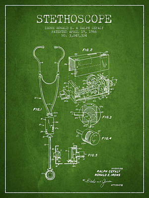Hospital Digital Art - Stethoscope Patent Drawing From 1966- Green by Aged Pixel