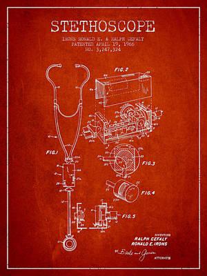 Stethoscope Patent Drawing From 1966- Red Art Print by Aged Pixel
