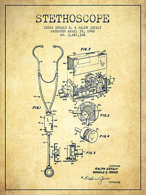 Stethoscopes Drawing - Stethoscope Patent Drawing From 1966- Vintage by Aged Pixel