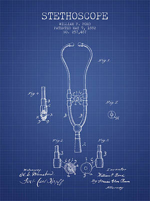 Stethoscope Patent From 1882 - Blueprint Art Print by Aged Pixel