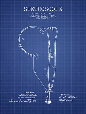 Angels And Cherubs - Stethoscope Patent From 1896 - Blueprint by Aged Pixel