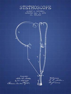 Stethoscope Patent From 1896 - Blueprint Art Print