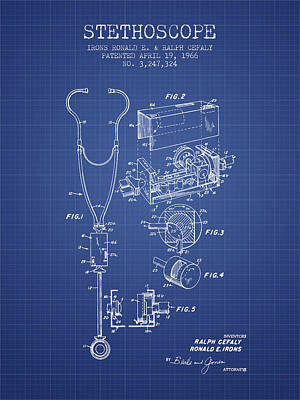 Stethoscopes Drawing - Stethoscope Patent From 1966 - Blueprint by Aged Pixel