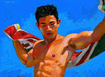 Chinese Man Painting - Chinese Bodybuilder With Towel by Douglas Simonson