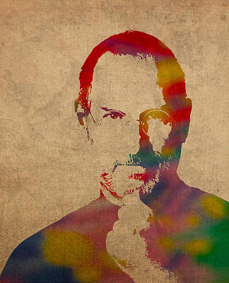 Wall Art - Mixed Media - Steve Jobs Apple Ceo Watercolor Portrait On Worn Distressed Canvas by Design Turnpike