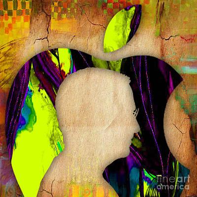 Mixed Media - Steve Jobs Apple by Marvin Blaine