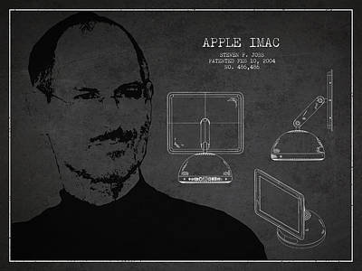 Steve Jobs Imac  Patent - Dark Art Print by Aged Pixel