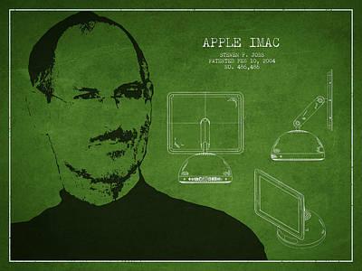 Steve Jobs Imac  Patent - Green Print by Aged Pixel