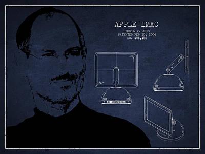 Steve Jobs Imac  Patent - Navy Blue Print by Aged Pixel