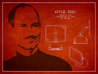 Steve Jobs Imac  Patent - Red Art Print by Aged Pixel