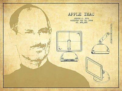 Ios Digital Art - Steve Jobs Imac  Patent - Vintage by Aged Pixel