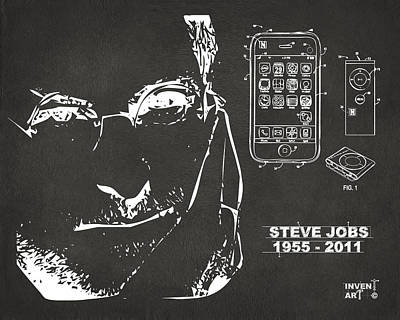 Steve Jobs Drawing - Steve Jobs Iphone Patent Artwork Gray by Nikki Marie Smith