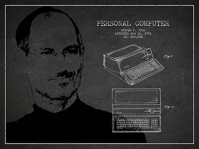 Ios Digital Art - Steve Jobs Personal Computer Patent - Dark by Aged Pixel
