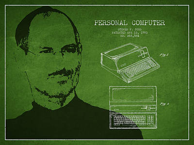 Ios Digital Art - Steve Jobs Personal Computer Patent - Green by Aged Pixel