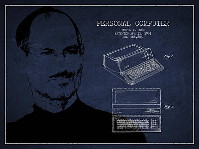 Steve Jobs Personal Computer Patent - Navy Blue Print by Aged Pixel