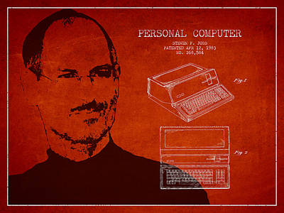Ios Digital Art - Steve Jobs Personal Computer Patent - Red by Aged Pixel