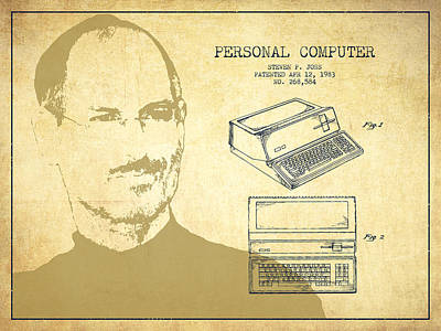 Steve Jobs Drawing - Steve Jobs Personal Computer Patent - Vintage by Aged Pixel