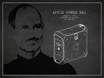 Steve Jobs Power Mac Patent - Dark Art Print by Aged Pixel