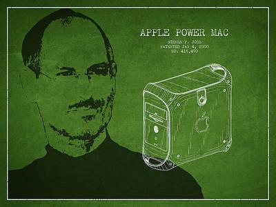 Steve Jobs Power Mac Patent - Green Print by Aged Pixel