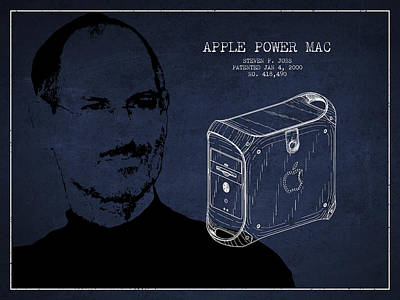 Steve Jobs Power Mac Patent - Navy Blue Art Print by Aged Pixel