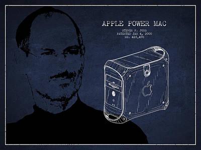 Steve Jobs Digital Art - Steve Jobs Power Mac Patent - Navy Blue by Aged Pixel