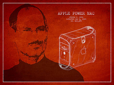 Steve Jobs Power Mac Patent - Red Art Print by Aged Pixel