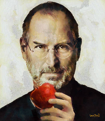 Art Print featuring the painting Steve Jobs  by Wayne Pascall