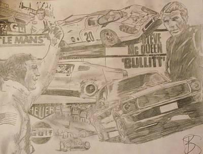 Steve Mcqueen Drawing - Steve Mcqueen by Sarah  Bush