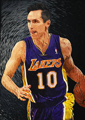 Los Angeles Lakers Digital Art - Steve Nash by Taylan Apukovska
