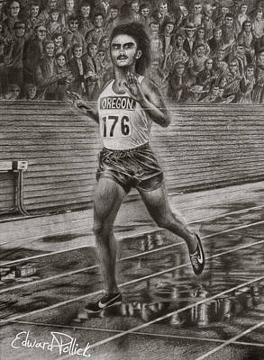 Action Sports Art Drawing - Steve Prefontaine by Edward Pollick