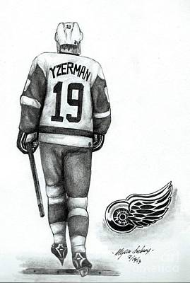 Pond Hockey Drawing - Steve Yzerman by Allyson Andrewz