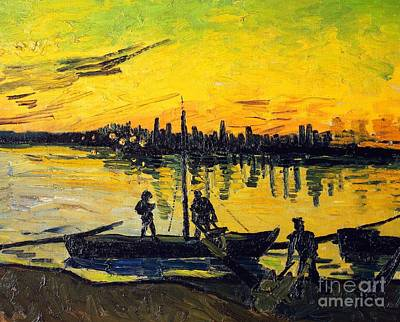 Contemporary Age Painting - Stevedores In Arles by Vincent van Gogh