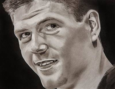 Soccer Drawing - Steven Gerrard  by Brian Broadway