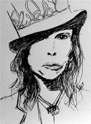 Steven Tyler Drawing - Steven Tyler by Laura Herzog
