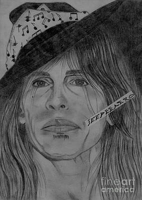 Art Print featuring the drawing Steven Tyler Portrait Drawing by Jeepee Aero