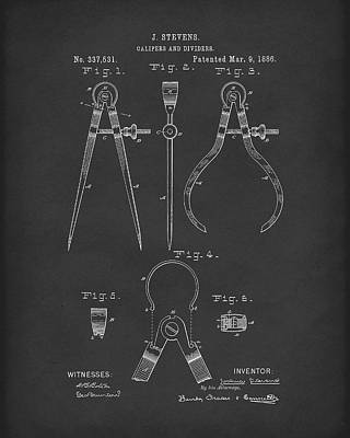 Drawing - Stevens Calipers And Dividers 1886 Patent Art Black by Prior Art Design