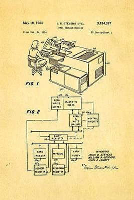 Stevens Data Storage Machine Patent Art 1964 Art Print by Ian Monk