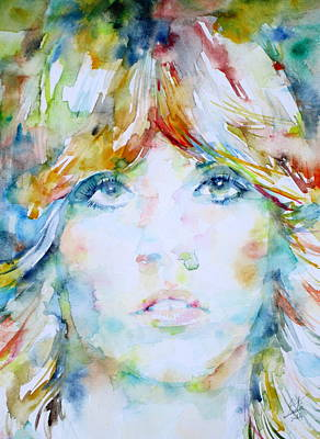 Stevie Nicks Painting - Stevie Nicks - Watercolor Portrait by Fabrizio Cassetta