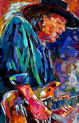 Rock Guitar Painting - Stevie Ray... by Debra Hurd