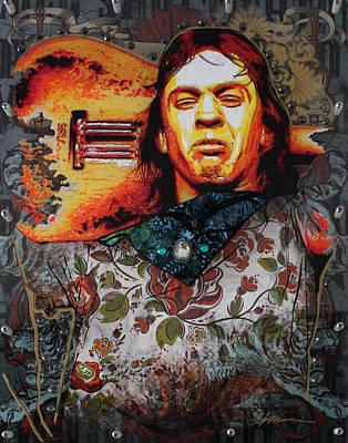 Ray Mixed Media - Stevie Ray by Gary Kroman