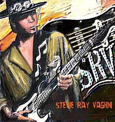 Stevie Ray Vaghn Print by Larry E Lamb