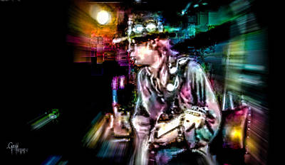 Stevie Ray Vaughan - Smokin' Art Print by Glenn Feron