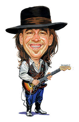 Musicians Paintings - Stevie Ray Vaughan by Art